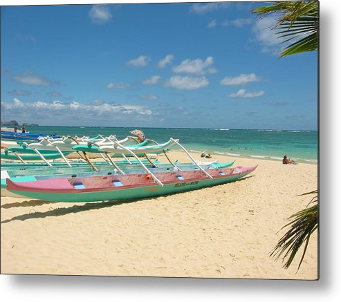 Canoe Metal Print featuring the photograph Lanikai Outriggers by Halle Treanor
