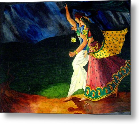 Couple Metal Print featuring the painting Life Partner by Sujata Tibrewala