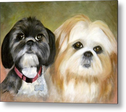 Pets Metal Print featuring the painting Little Angels by Merle Blair