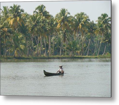 Landscape Metal Print featuring the photograph Lone Fisherman by Reshmi Shankar