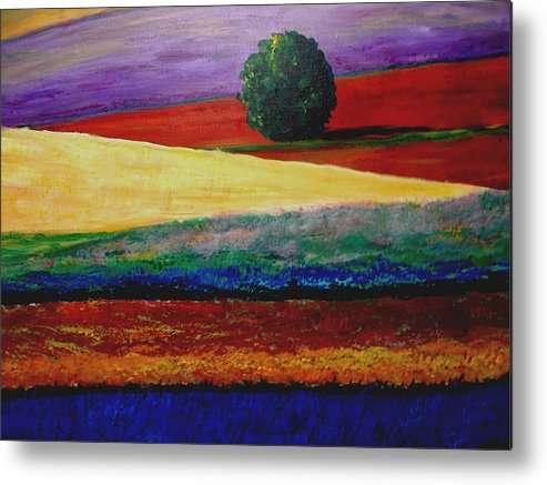 Lavender Metal Print featuring the painting Lone Tree In Flower Fields Of Provence by Elizabeth Ferris