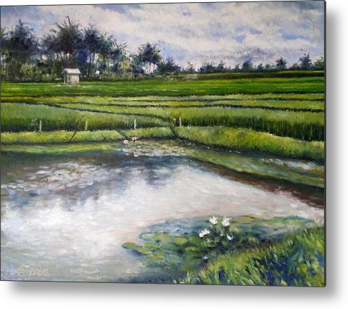 Bali Metal Print featuring the painting Lotus Flowers And Rice Field Ubud Bali Indonesia 2008 by Enver Larney