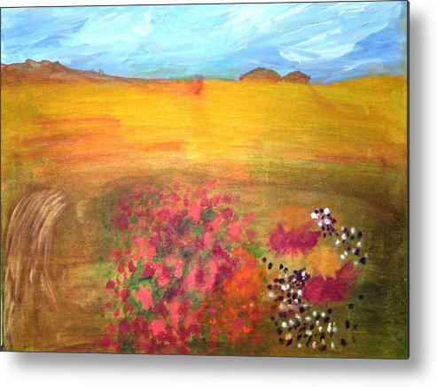 Landscape Metal Print featuring the painting Magic Garden by Gullan Grafstrom