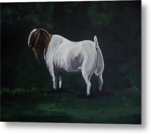 Goat Metal Print featuring the painting Majestic Boer Buck by Glenda Smith
