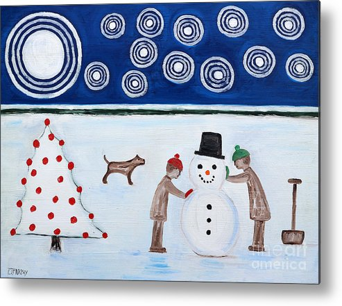 Snowman Metal Print featuring the painting Making A Snowman At Christmas by Patrick J Murphy