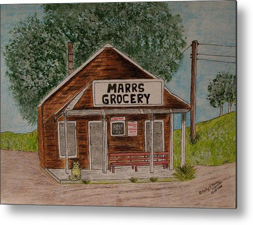 Marrs Metal Print featuring the painting Marrs Country Grocery Store by Kathy Marrs Chandler