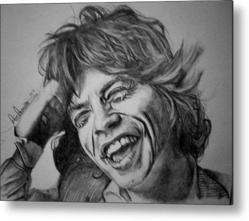 Celeb Portraits Metal Print featuring the drawing Mick Jagger Portrait by Sean Leonard