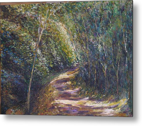 Landscape Metal Print featuring the painting Morning Walk by Wendy Chua