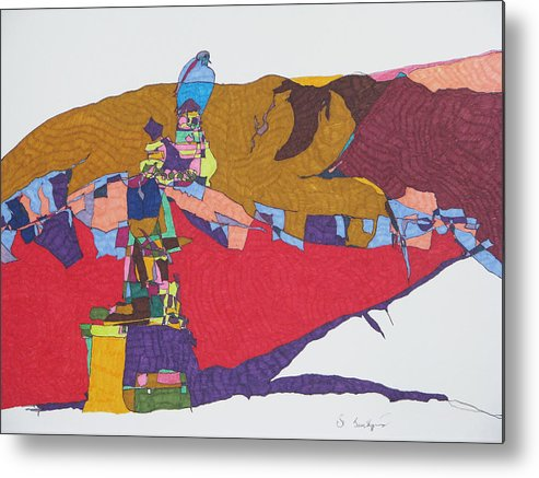 Abstract Landscape Metal Print featuring the mixed media Mustang Tibetan Hawk And Prayer Flags by James SheppardIII