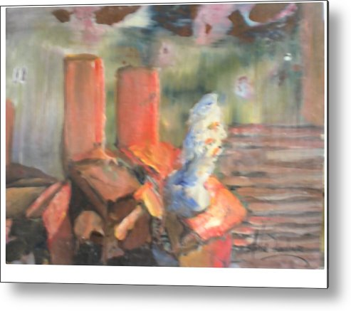 Studio Bench And Cast Metal Print featuring the painting My Sudio by Hal Newhouser