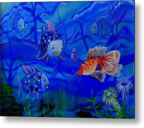 Fish Metal Print featuring the painting New Kid In Town by Quwatha Valentine