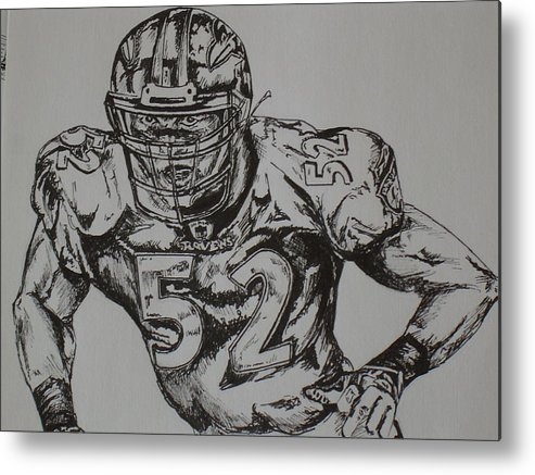 Sports Metal Print featuring the drawing Number 52 by Raymond Nash