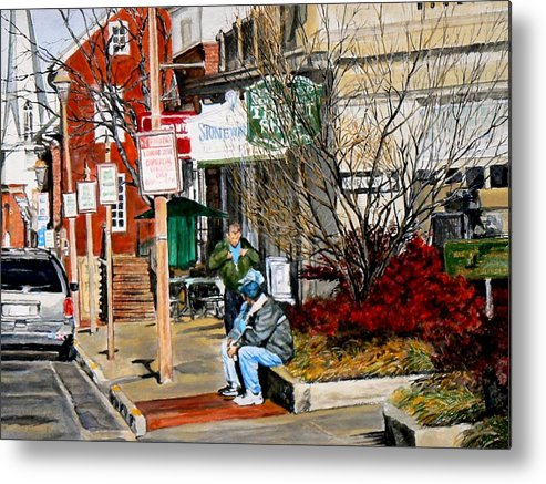 City Scene Metal Print featuring the painting Oil Stains And Red Nandina by Thomas Akers