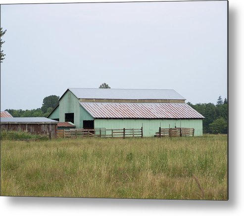 Barn Metal Print featuring the photograph Old Green Barn  Washington State by Laurie Kidd