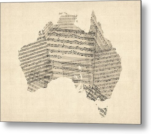 Australia Map Metal Print featuring the digital art Old Sheet Music Map Of Australia Map by Michael Tompsett