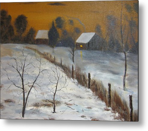Landscape Metal Print featuring the painting Orange Night by Brian Hustead