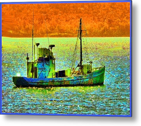 Fishing Boat Metal Print featuring the photograph p1030865001d Fishing Boat by Ed Immar