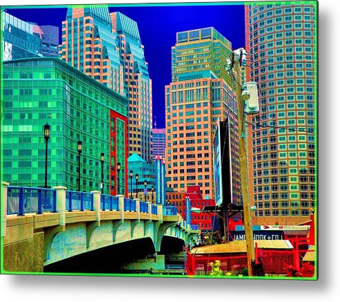 Cityscape Metal Print featuring the photograph p1070571b Boston Bridge by Ed Immar