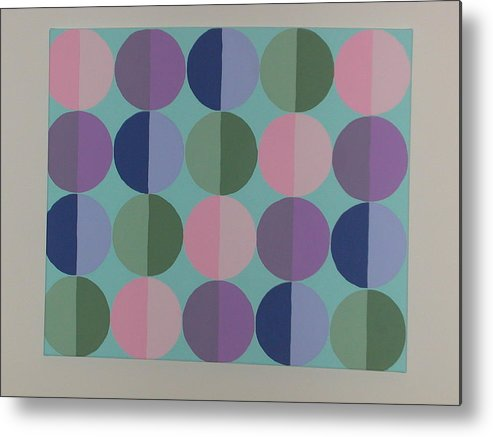 Blue Metal Print featuring the painting Pastel Cirles by Gay Dallek