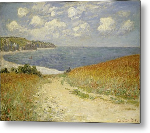 Path In The Wheat At Pourville Metal Print featuring the painting Path In The Wheat At Pourville by Claude Monet