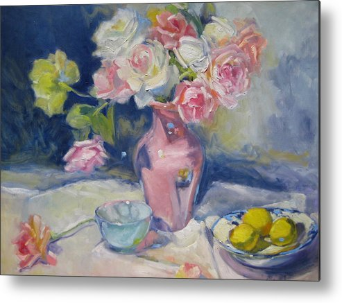 Roses Metal Print featuring the painting Pink Vase by Susan Jenkins