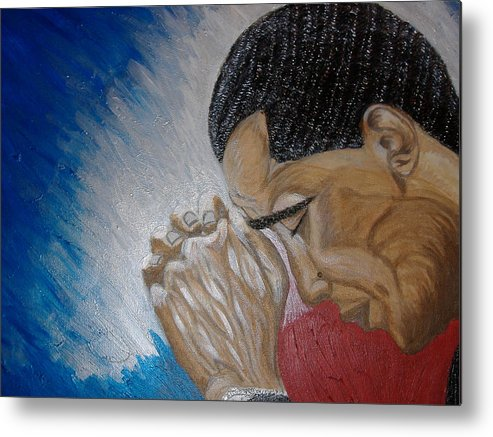 Portraits Metal Print featuring the painting Pray For Peace by Keenya Woods