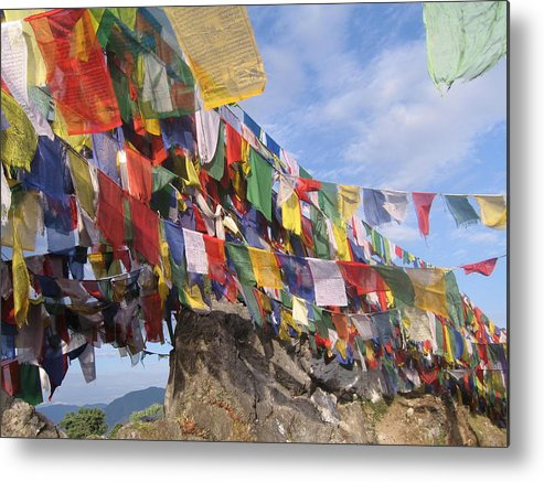 Prayer Flags Metal Print featuring the photograph Prayer Flags In Happy Valley by Art Nomad Sandra Hansen