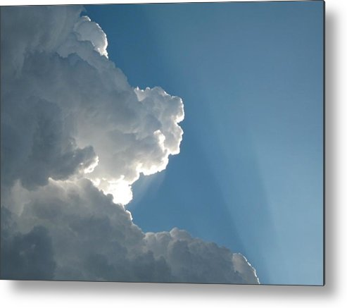 Clouds Metal Print featuring the photograph Puffy White Clouds by Liz Vernand