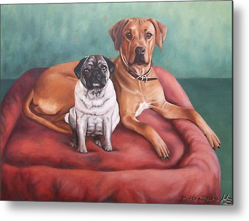 Dogs Metal Print featuring the painting Pug And Rhodesian Ridgeback by Nicole Zeug