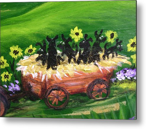 Pups Metal Print featuring the painting Pups First Hayride Upclose by Laura Johnson