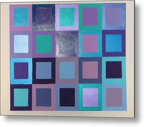 Squares Metal Print featuring the painting Purple Haze by Gay Dallek