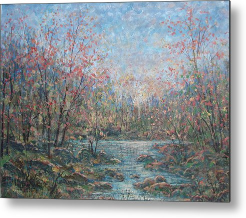 Landscape Metal Print featuring the painting Quiet Evening. by Leonard Holland