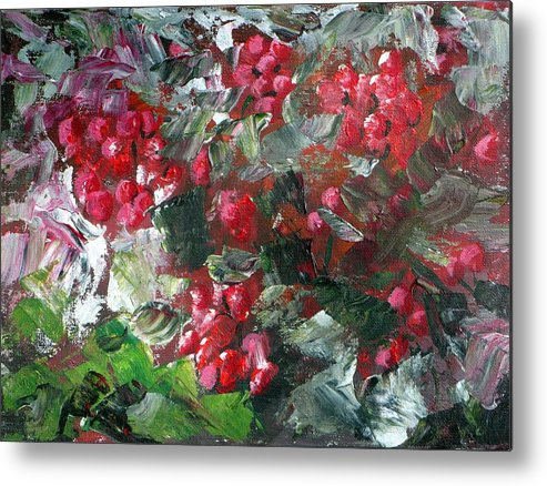 Red Metal Print featuring the painting Red Berries by Saga Sabin