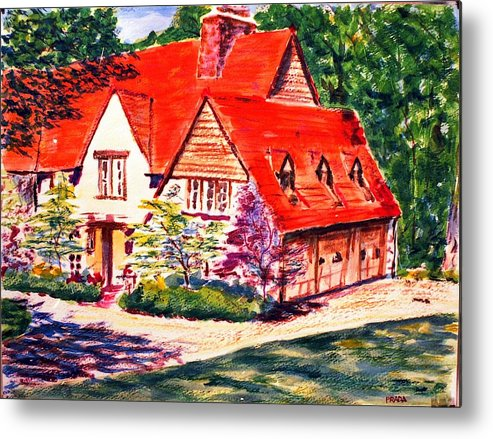 Watercolor Metal Print featuring the painting Red House In Clayton by Horacio Prada