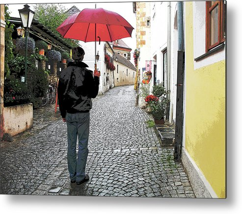 Durnstein Metal Print featuring the photograph Red Umbrella by Joanne Riske