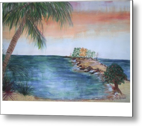 Seascape Of A Sunrise Metal Print featuring the painting Resort The Keys by Hal Newhouser
