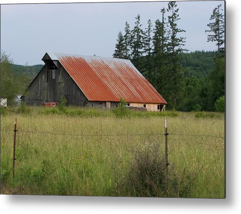 Rusty Metal Print featuring the photograph Rusty Roofed Barn  Washington State by Laurie Kidd
