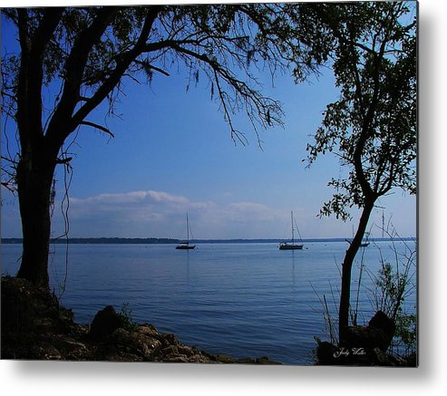 Trees Metal Print featuring the photograph Sail Boats On The Bay by Judy Waller