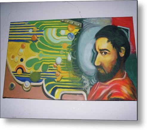 Oil Metal Print featuring the drawing Self Portrait 2007 by John Baker