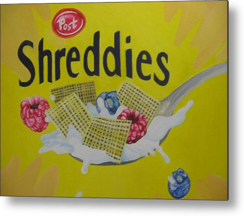 Shreddies Metal Print featuring the painting Shreddies by Theodora Dimitrijevic
