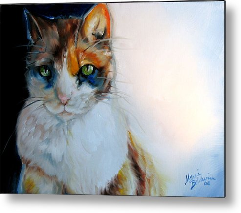 Cat Metal Print featuring the painting Shy Calli by Marcia Baldwin