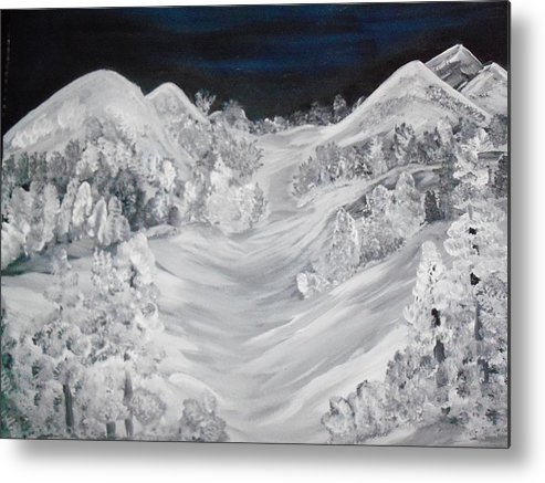 Landscapes Of Pure White Snow Metal Print featuring the painting Ski Slope by Teresa Nash