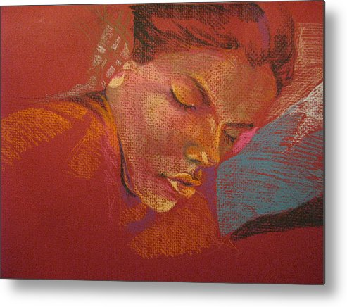 Metal Print featuring the drawing Sleeping Figure by Julie Orsini Shakher