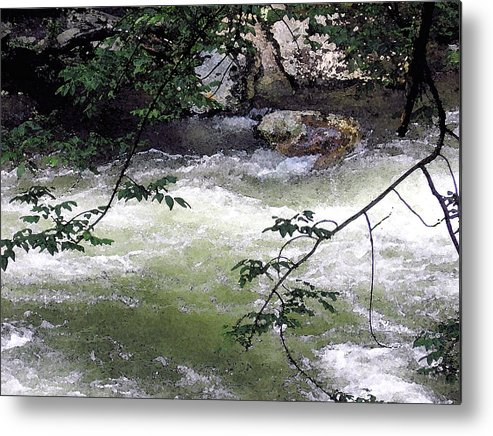 Smokey Mountains Metal Print featuring the painting Smokey River Run by Mary Sonya Conti