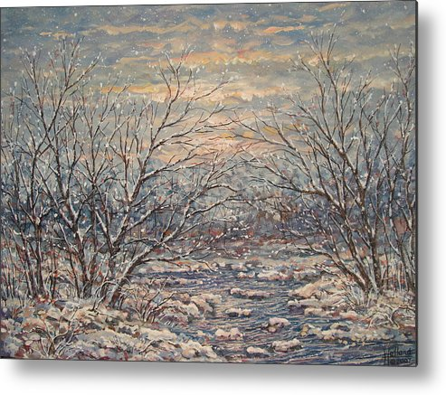 Landscape Metal Print featuring the painting Snow By Brook. by Leonard Holland
