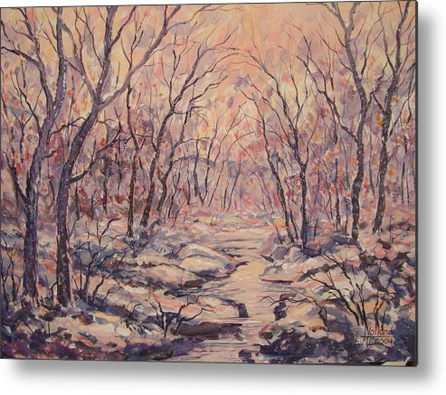Landscape Metal Print featuring the painting Snow In The Woods. by Leonard Holland
