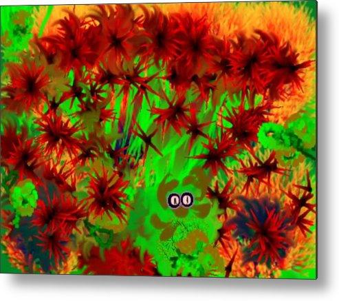 Jungle Metal Print featuring the digital art Someone Peers Between The Flowers In The Jungle by Dr Loifer Vladimir