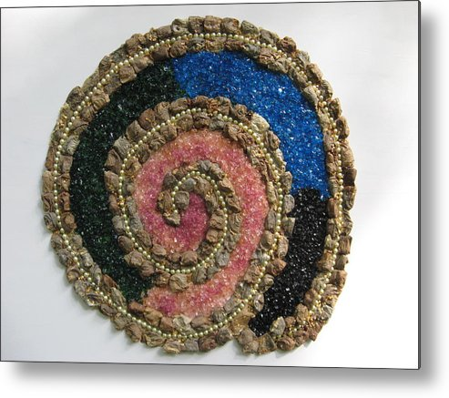 Colored Glass Metal Print featuring the mixed media Spiral by Gail Hinchen