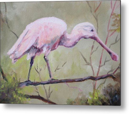 Bird Metal Print featuring the painting Spoonbill by Carol Mueller