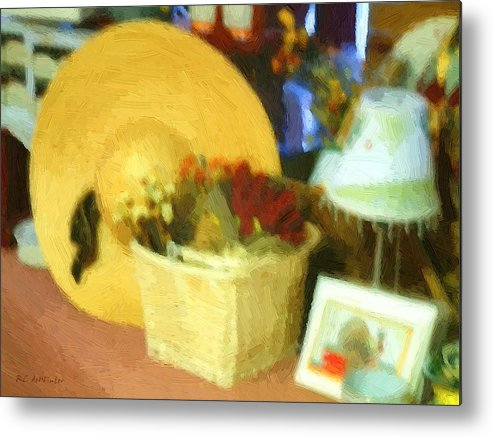 Basket Metal Print featuring the digital art Still Life With Straw Hat by RC DeWinter